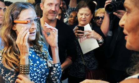 Designer Diane Von Furstenberg (right) and actor Sarah Jessica Parker try out the first version of Google Glass at a New York fashion show in September 2012.