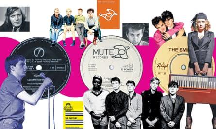 (Clockwise from top) Tony Wilson; Depeche Mode; Daniel Miller; The Smiths; Goldfrapp; A Certain Ratio; Ian Curtis