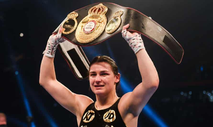 Ireland's Katie Taylor celebrates claiming the vacant WBA lightweight title by beating Anahi Esther Sánchez at the Principality Stadium in Cardiff