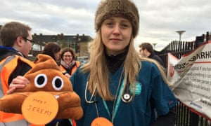 Emily, junior doctor, outside St George's hospital in south-west London