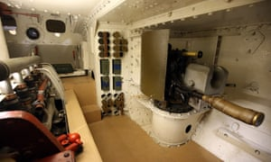 The inside of a mark IV first world war tank at the museum.
