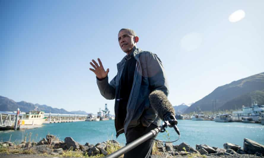 Barack Obama speaks to reporters in Seward, Alaska, in September 2015 where he used the state's glorious but changing landscape as an urgent call to action on climate change.=
