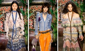Models on the Roberto Cavalli SS17 catwalk.