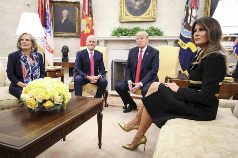Lucy and Malcolm Turnbull with Donald and Melania Trump in the White House in February 2018