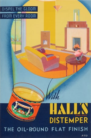 Changing interior styles are evident in the advert for Hall's distemper from the 1930s. Clean lines, simple furniture and lack of clutter were in vogue.