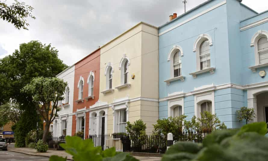 Colourfully painted London houses