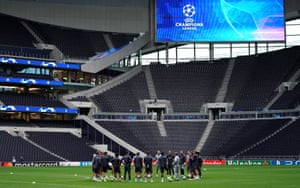 Bayern players training at Tottenham's ground on Monday.