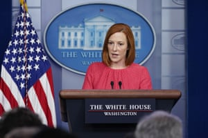 Jen Psaki, White House press secretary, speaks at the White House on Thursday.