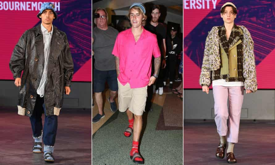 Designs by Stephanie Ransom from Arts University Bournemouth, left, and Charlotte Tait from Sheffield Hallam University, right, at the graduate fashion week show during London Fashion Week, September 2020. Centre, Justin Bieber à la mode.