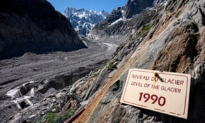 A sign showing the retreat of the Mer de Glace glacier in Chamonix, France.
