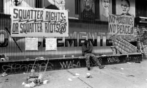 New York, 1995: a lone protester resists the NYPD's squatter evictions in the East Village.