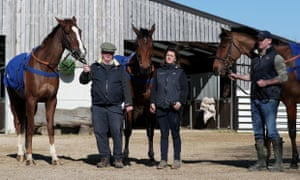 Native River, Thistlecrack and Elegant Escape, left to right, pictured at Colin Tizzard's yard on Monday.