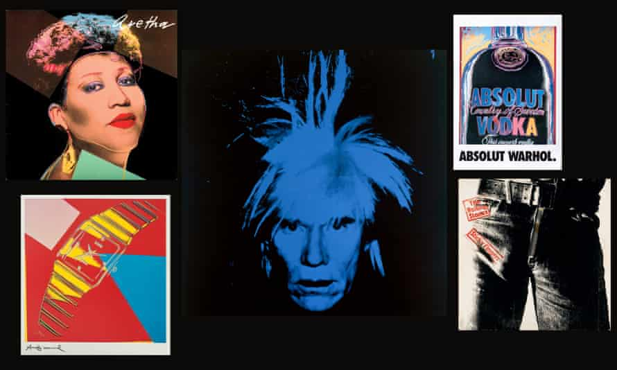 A Warhol self-portrait, albums by Aretha Franklin and the Rolling Stones, and ads for vodka and watches, all collected by Paul Maréchal, from Mechanical Art at the Picasso Museum, Malaga, Spain.