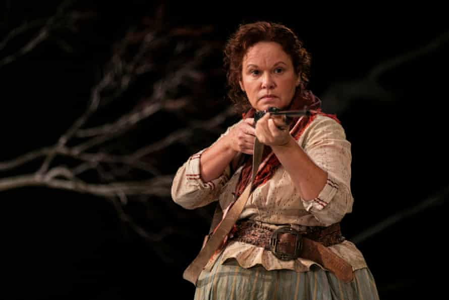 Molly (Leah Purcell) points her rifle at Yadaka, in her 2017 radical re-imagining of The Drover's Wife for Belvoir.