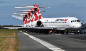 Grounded Qantas aircraft parked at Brisbane airport