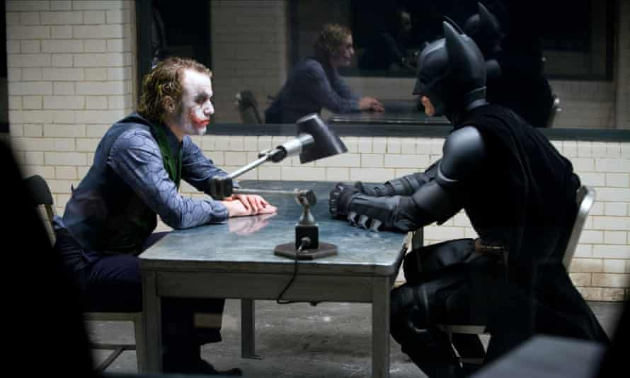 'Heath turned up, and just kind of completely ruined all my plans' ... Christian Bale's Batman interrogates Ledger's Joker in 2008's The Dark Knight.