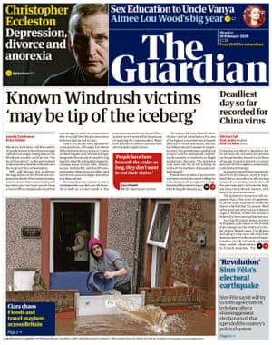 Guardian front page, Monday 10 February 2020
