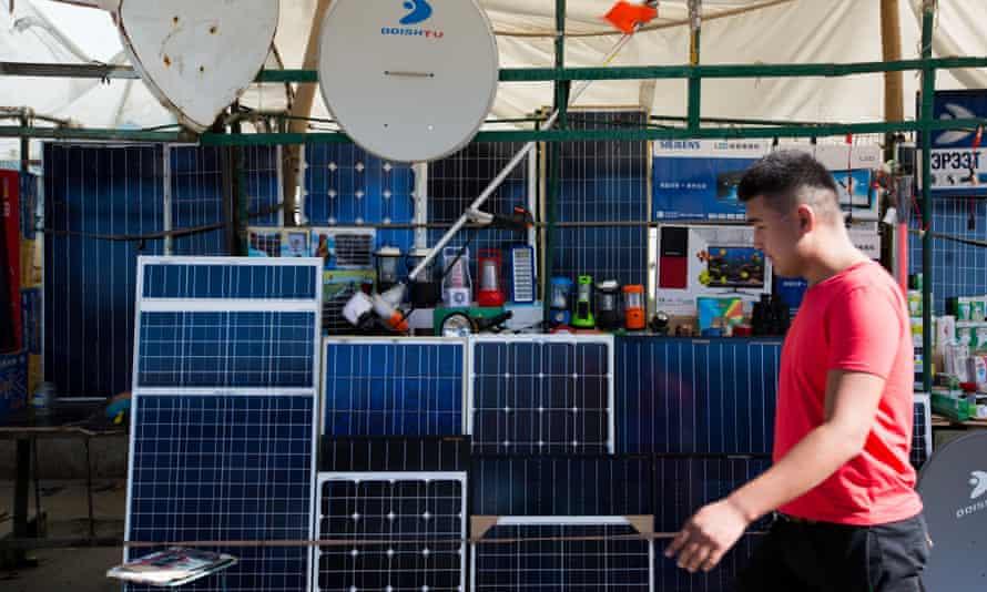Solar panels on sale at the Naran Tuul market in Ulaanbaatar, Mongolia.