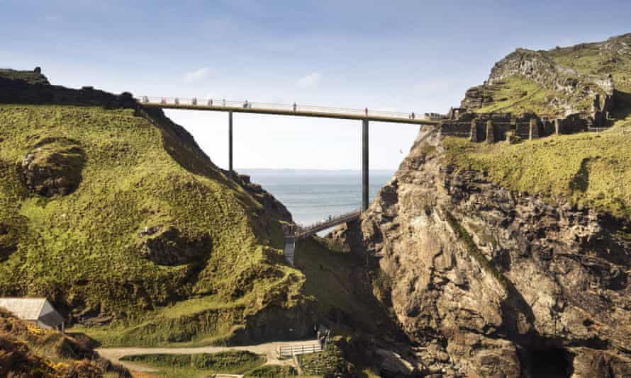 An artist's impression of the Bronze Blade, Marks Barfield's submission for a new footbridge linking Tintagel to the mainland.