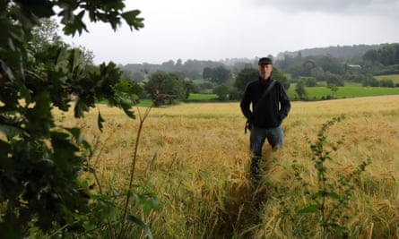 Kevin Rushby on a threatened footpath in Powys, Wales.
