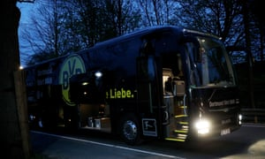 The team bus of the Borussia Dortmund after the attack on 11 April.