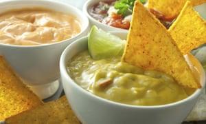 A classic chips 'n' dips arrangement.
