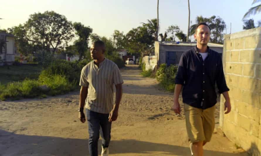 Themba Cabeka, now Justin, and producer Rich Bentley in The Man Who Fell From the Sky.