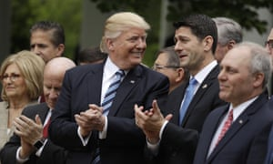 Donald Trump talks with House Speaker Paul Ryan of Wis., in the Rose Garden of the White House in Washington, Thursday, May 4, 2017. House Majority Whip Steve Scalise of La. is at left, House Ways and Means Committee Chairman Rep. Kevin Brady, R-Texas is at right.