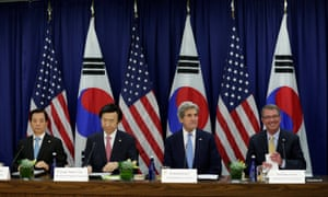The US and South Korean ministers of foreign affairs and defense meet at the state department in Washington on Wednesday.