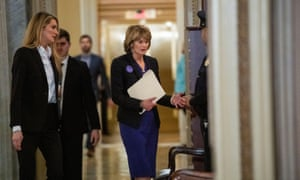Senator Lisa Murkowski was photographed as she returned to the trial chamber after a break.