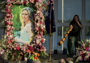 Johanna Morrow plays the didgeridoo during a memorial service for Justine Ruszczyk Damond in Minneapolis.
