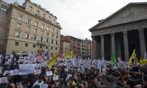 Activists outside the Pantheon in Rome