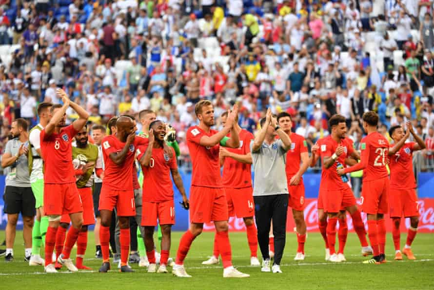 England's players celebrate after winning their quarter-final with Sweden.