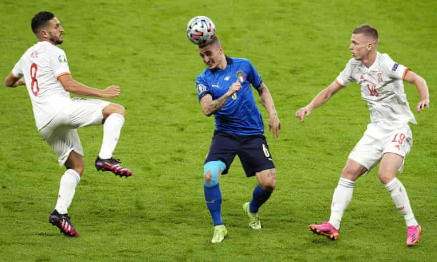 Marco Verratti in the centre of the action during Italy's Euro 2020 semi-final win over Spain.