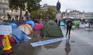 Protesters' tents in Trafalgar Square