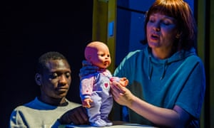 Puppet protest … Tope Mikun and Gemma Rowan in This Is Private Property.