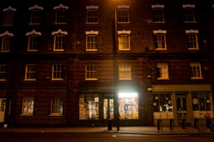 The shopfront in darkness