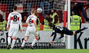Frankfurt's Nicolai Mueller scores his side's third goal