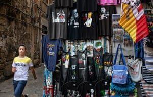 A stall selling Godfather themed t-shirts in Palermo.