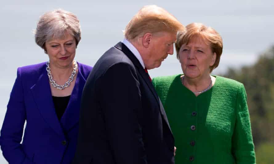 Theresa May, Donald Trump and Angela Merkel