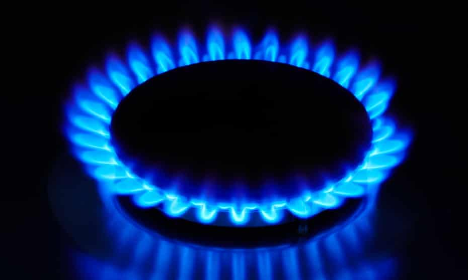 a blue gas cooker flame