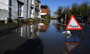 Flood signs in Tewkesbury, Gloucestershire.