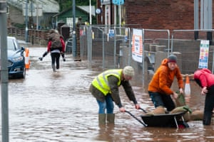 Residents work on flood defences in Appleby