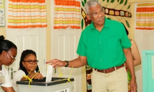 Presidential candidate David Granger casting his vote in Pearl, Guyana