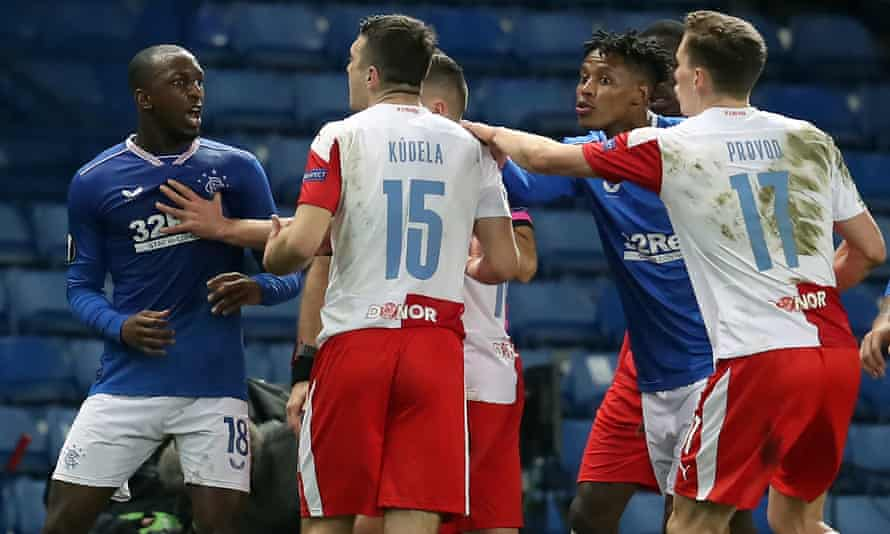 The Rangers midfielder Glen Kamara (left) clashes with Slavia Prague's Ondrej Kudela