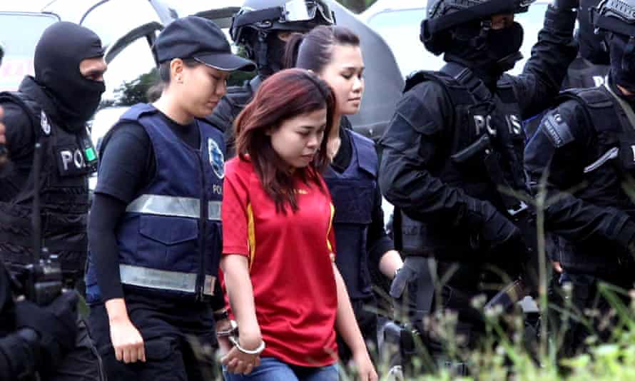 Indonesian national Siti Aisyah enters court in Sepang, accused of the murder of Kim Jong-nam, the half-brother of North Korea leader Kim Jong-un.