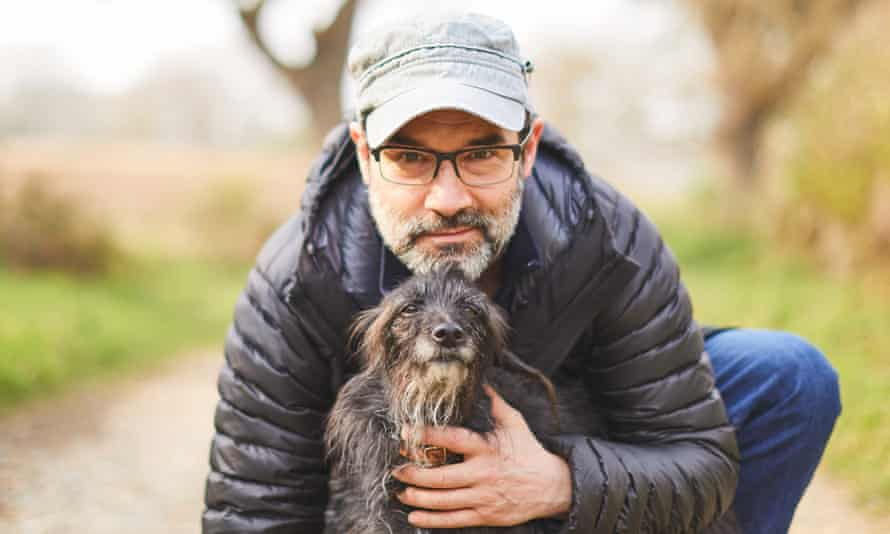 Buckle up ... Adam Buxton and the Hairy Bullet, his canine buddy Rosie.