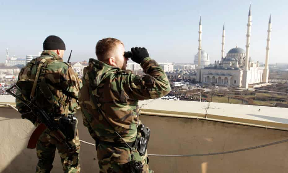 Law enforcement officers in the Chechen capital of Grozny.