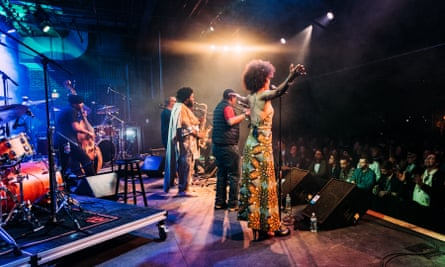 Kamasi Washington and fellow performers.