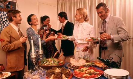 1970s buffet dinner party